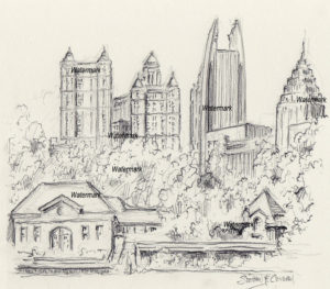 Atlanta skyline drawing of Lake Clara Meer