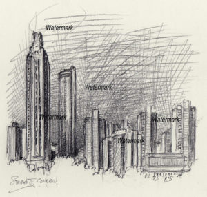 Atlanta skyline pencil drawing of downtown at night