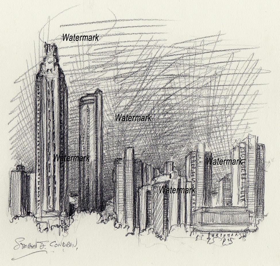 Atlanta skyline drawings of downtown at night.