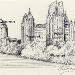 Atlanta Skyline Drawings and prints.