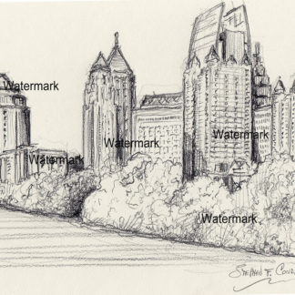 Atlanta skyline #818A pencil cityscape drawing with views of Piedmont Park.