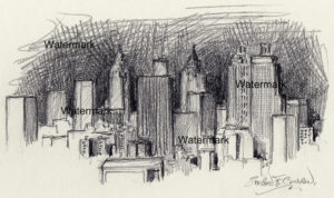 Atlanta skyline pencil drawing of downtown skyscrapers at night
