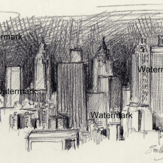 Atlanta skyline #820A pencil cityscape drawing is popular because of it's view of downtown at night.