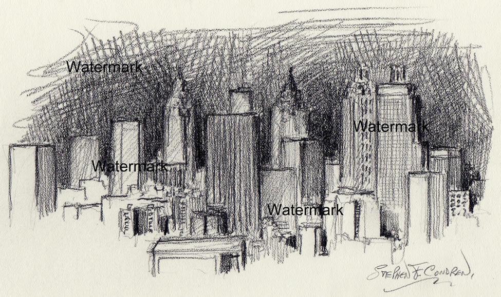 Atlanta skyline drawing of downtown