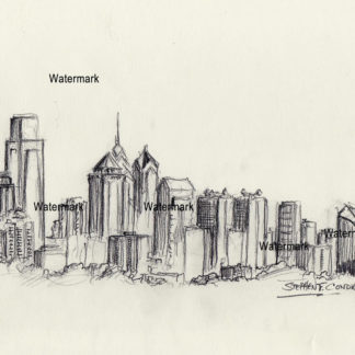 Philadelphia skyline charcoal drawing of downtown skyscrapers.