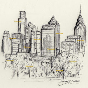 Philadelphia skyline charcoal line drawing of downtown skyscrapers
