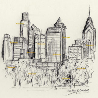 Philadelphia skyline #798A charcoal cityscape drawing is popular because of the beauty of FDR Park.