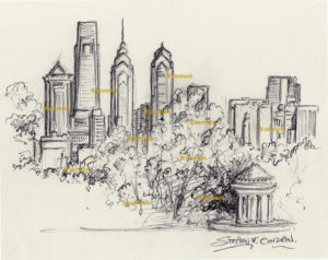Philadelphia skyline charcoal drawing from FDR Park with gazebo.