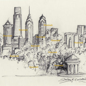 Philadelphia Skyline Drawings and prints.