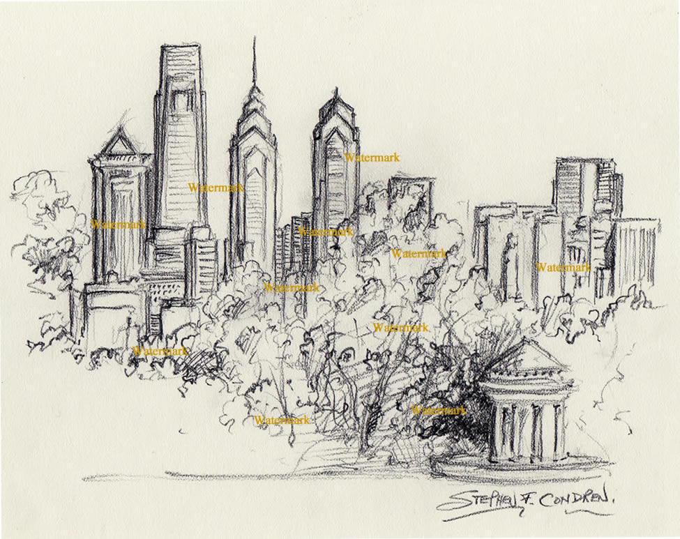 Philadelphia skyline charcoal drawing from FDR Park with gazebo.