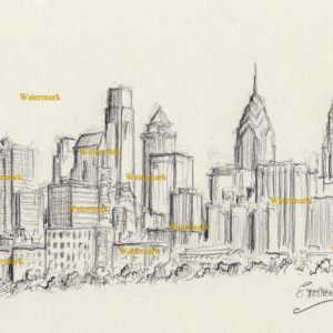 Philadelphia charcoal skyline drawing along the Schuylkill River.
