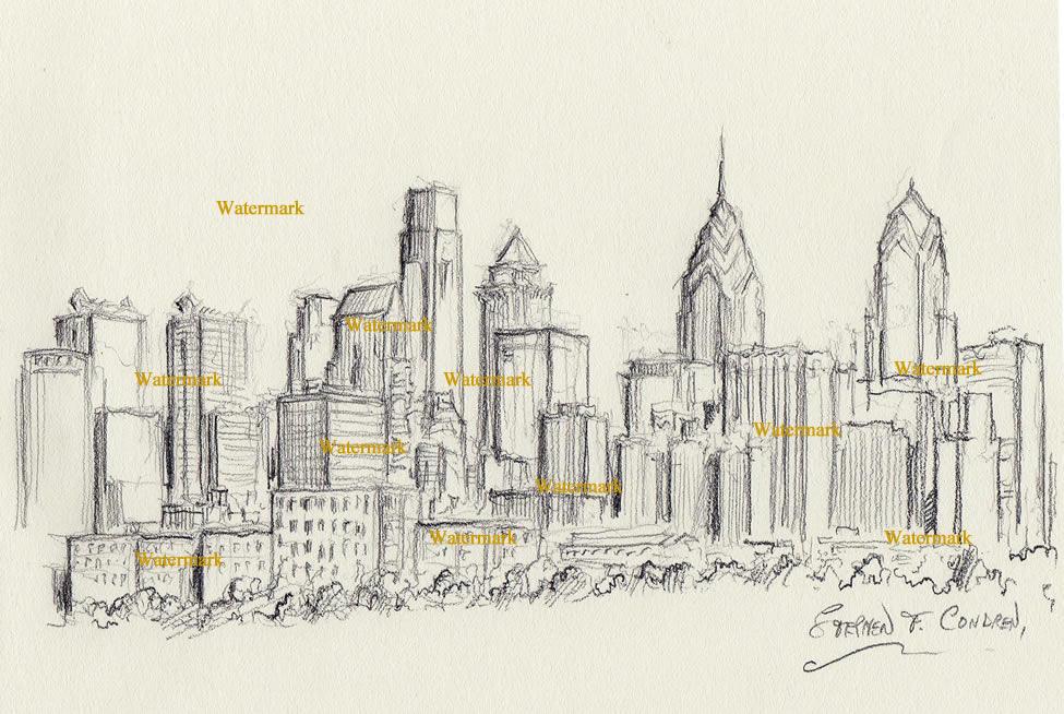Philadelphia charcoal skyline drawing along the Schuylkill River.