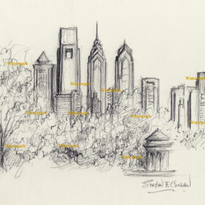 Philadelphia skyline charcoal drawing downtown and FDR Park.