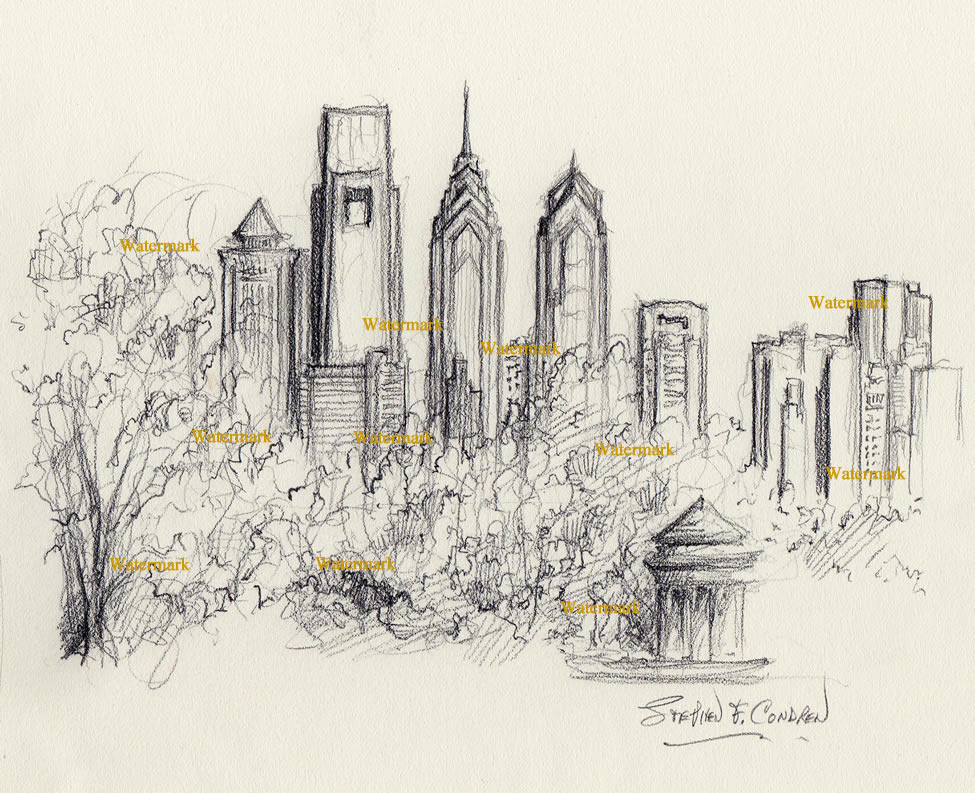 Philadelphia skyline drawings
