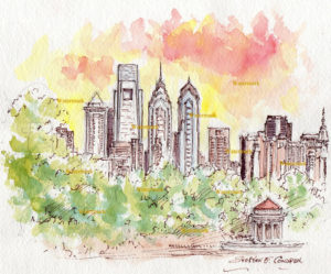 Philadelphia skyline watercolor