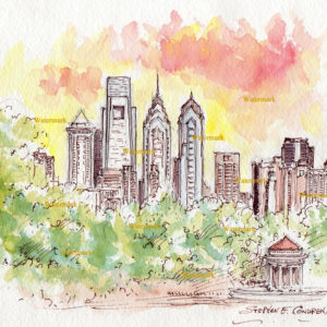 Philadelphia downtown skyline watercolor painting at sunset.