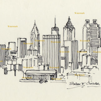 Atlanta skyline #826A pen & ink cityscape drawing is popular because of it's view of downtown.