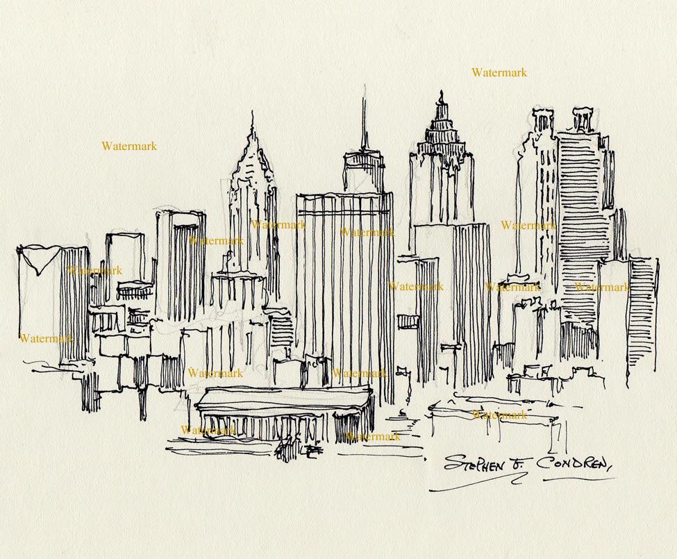 Atlanta skyline pen & ink drawing