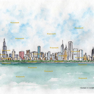 Chicago skyline watercolor painting overlooking Lake Michigan.