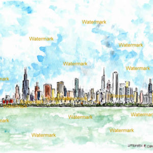 Chicago skyline watercolor paintings and prints.