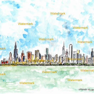 Chicago skyline watercolor painting on Lake Michigan.