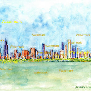 Chicago skyline watercolors and prints.