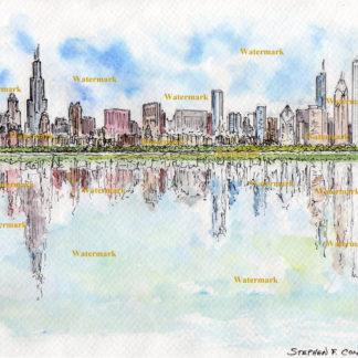 Chicago skyline #707A pen & ink cityscape watercolor with a view of the Loop and reflection in the waters of the lake.