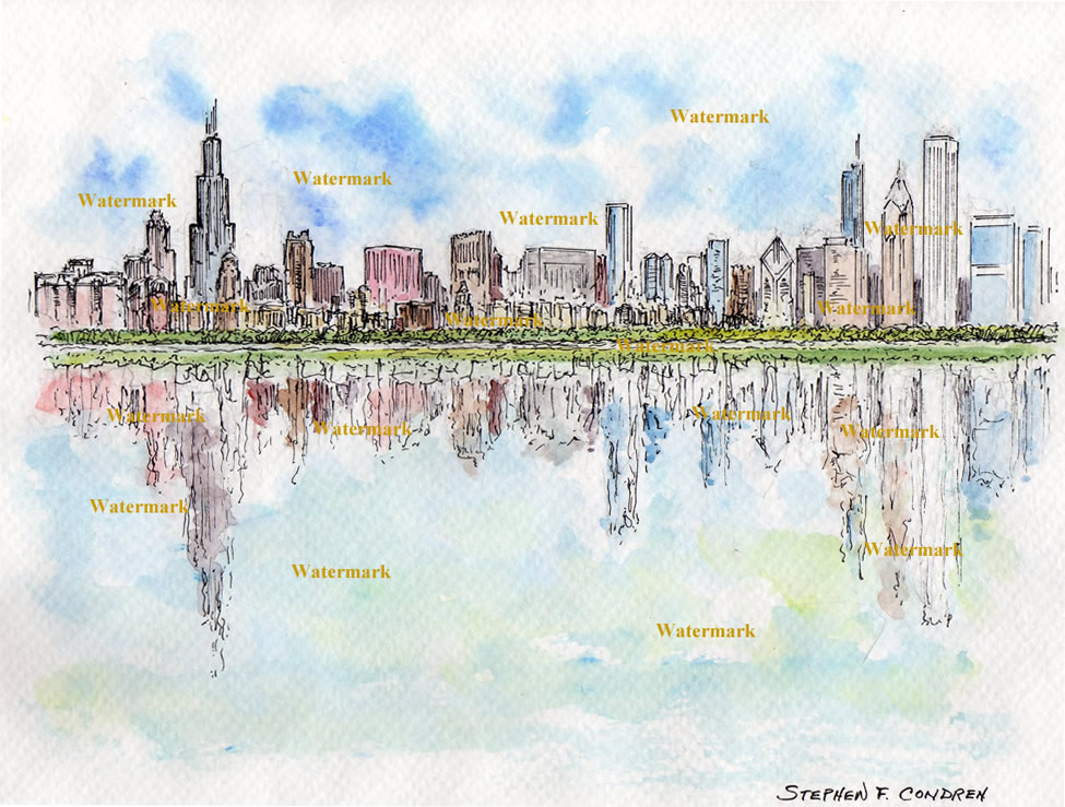 Chicago skyline watercolors and prints