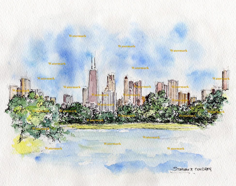 Chicago skyline watercolor overlooking Lincoln Park.