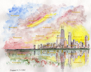 Chicago skyline watercolor painting with colorful sunset.