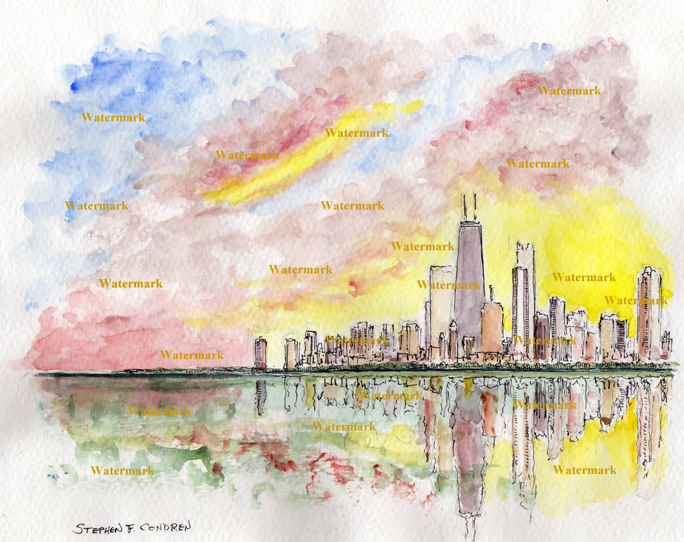 Watercolors and prints of Chicago skyline at sunset