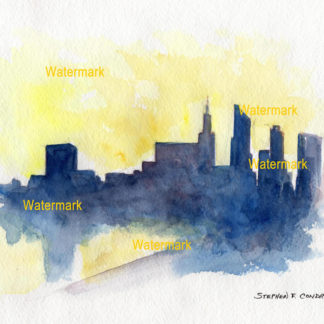 Chicago skyline watercolor silhouette painting at sunset.