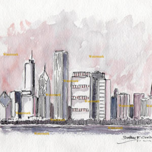 Chicago skyline watercolor of east Randolph Street.