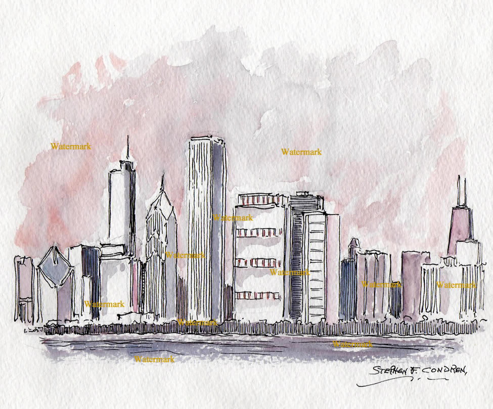 Watercolors and prints of Chicago skyline