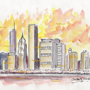 Chicago skyline watercolor of east Randolph Street at sunset.