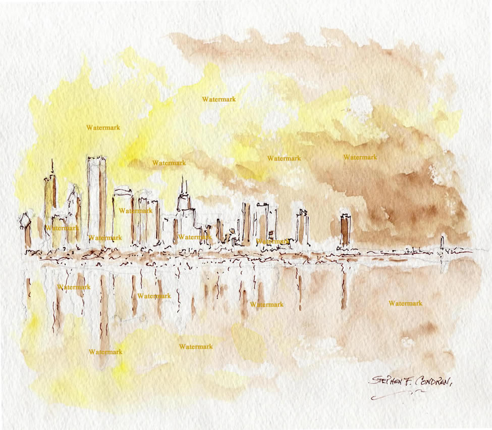 Chicago skyline watercolor of the near north side at sunset.