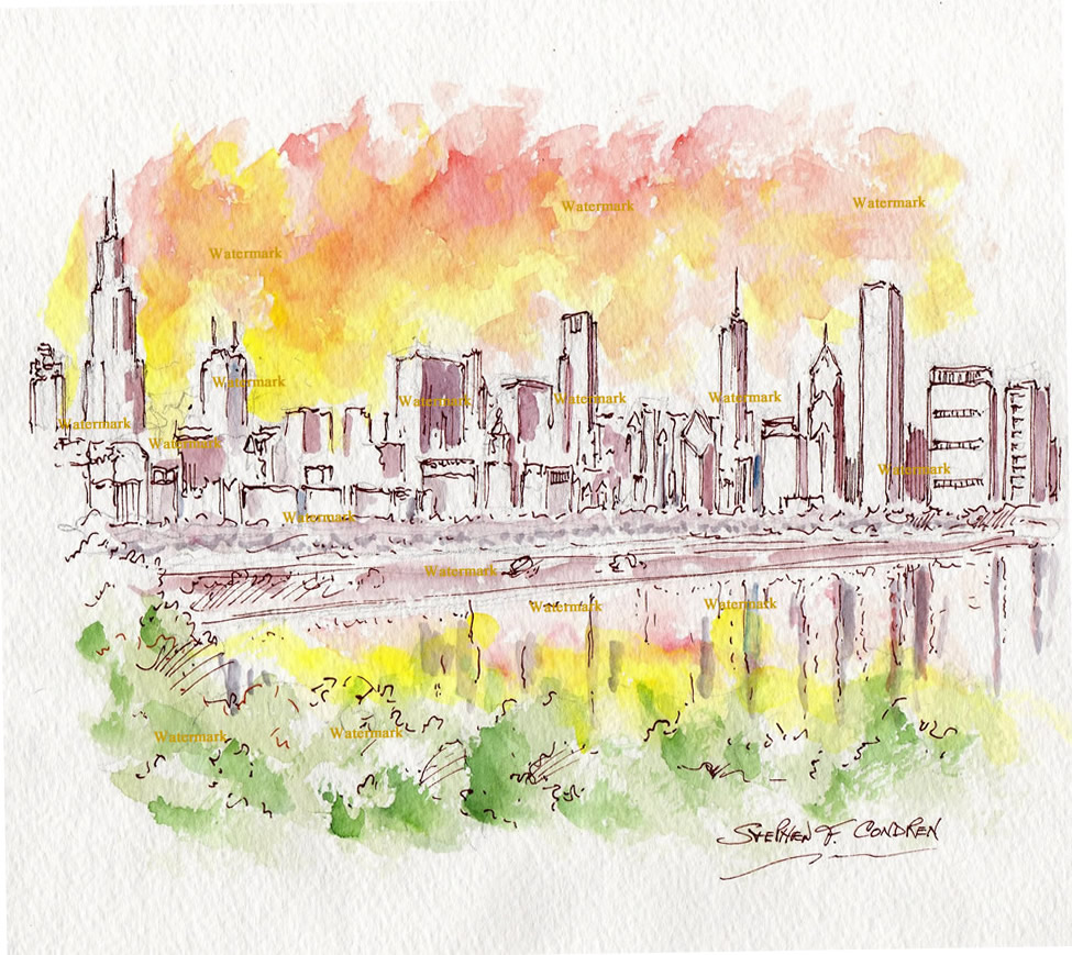 Watercolors and prints of Chicago skyline overlooking Burnham Harbor at sunset