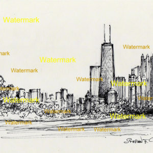 Chicago skyline pen & ink drawing of Lake Shore Drive 757.