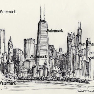 Pen & ink drawings and prints of Chicago skyline