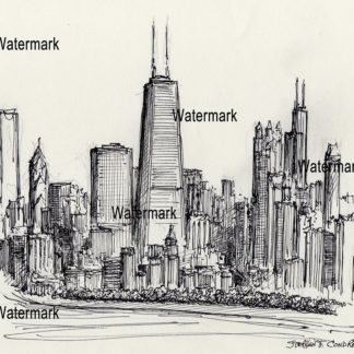 Chicago Skyline Pen & Ink Drawing Of Near North Side.