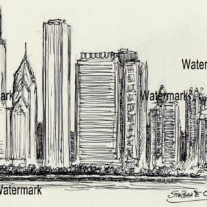 Chicago skyline pen & ink drawing of east Randolph Street.
