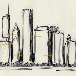 Chicago skyline pen & ink drawing of east Randolph Street 778.