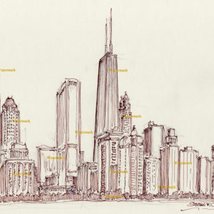 Red pen & ink drawings and prints of Chicago skyline.