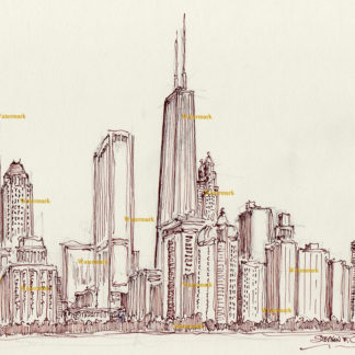Chicago skyline pen & ink drawing of near north side in Streeterville.