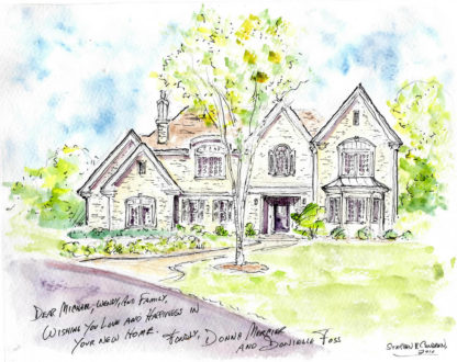 Watercolor house portraits as Realtor closing & settlement gifts
