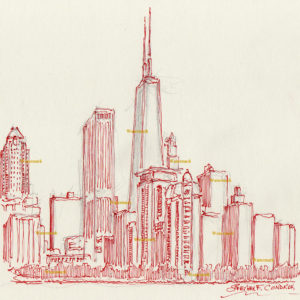 Red pen & ink drawings and prints of Chicago skyline