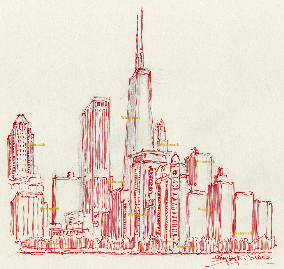 Chicago skyline red pen & ink drawing of near north side.