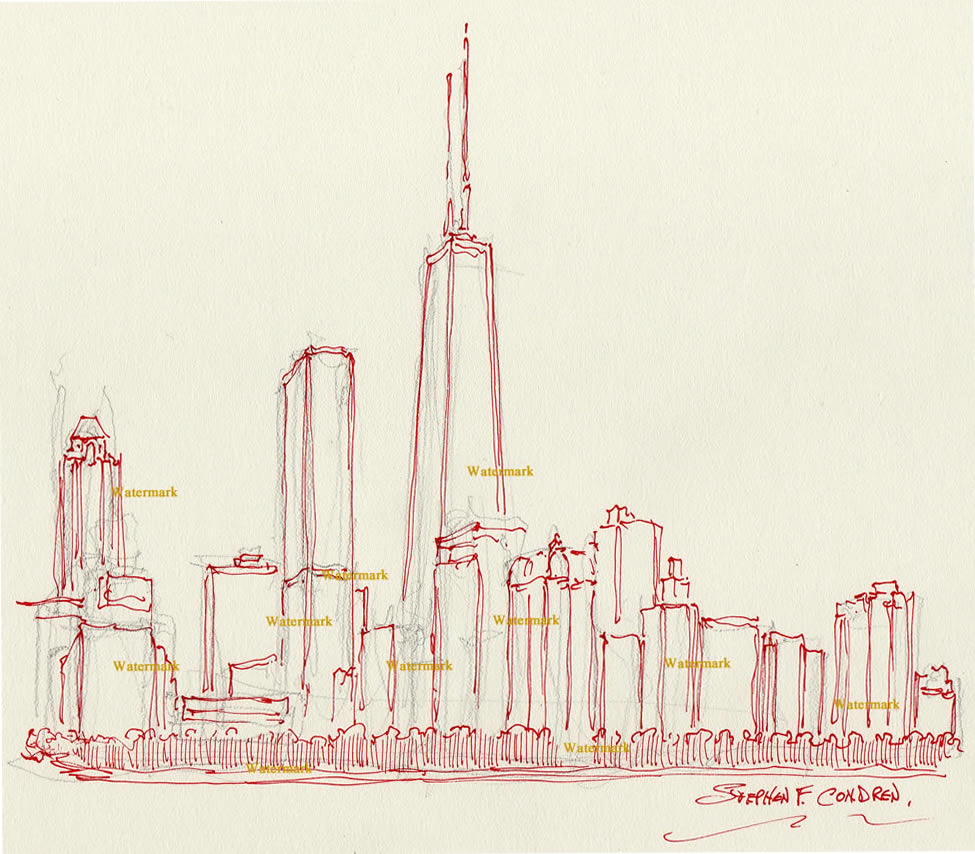 Chicago skyline pen & ink drawing of John Hancock Center.