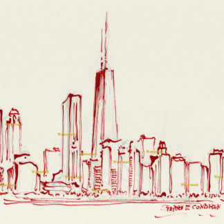 Chicago skyline bamboo & red ink drawing of near north side.