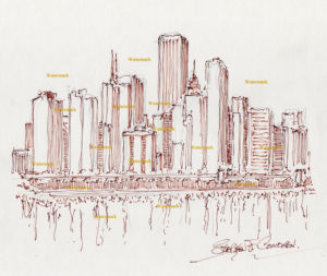 Chicago skyline pen & ink drawing of east Randolph high rises.
